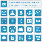Mobile Web Services Icon set — Stock Vector