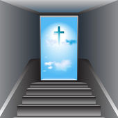 Stairway to Heaven. Way to God. The Cross of Jesus Christ — Stock Vector