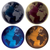3d Globe - Color set — Stock Vector