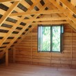 Construction of wooden houses. attic — Stock Photo