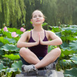 Blond pretty woman do yoga meditation exercise in the nature - Stock Photo