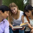 Woman holding books. Group of young teen students working togeth — Stock Photo