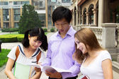 Group of young students look at book and talk — Stock Photo