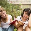 Stock Photo: Happy caucasian and asian girl studying outdoor in university ca