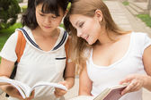 European and Asian girls studying together. Teamwork of students — Stock Photo