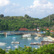 Pleasure boats in sheltered bay with resort or village — Stock Photo #25067973