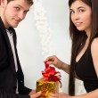 Couple opening gift box together, love and romantic — Stock Photo