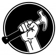 Hand holding a hammer — Stock Vector #12560637