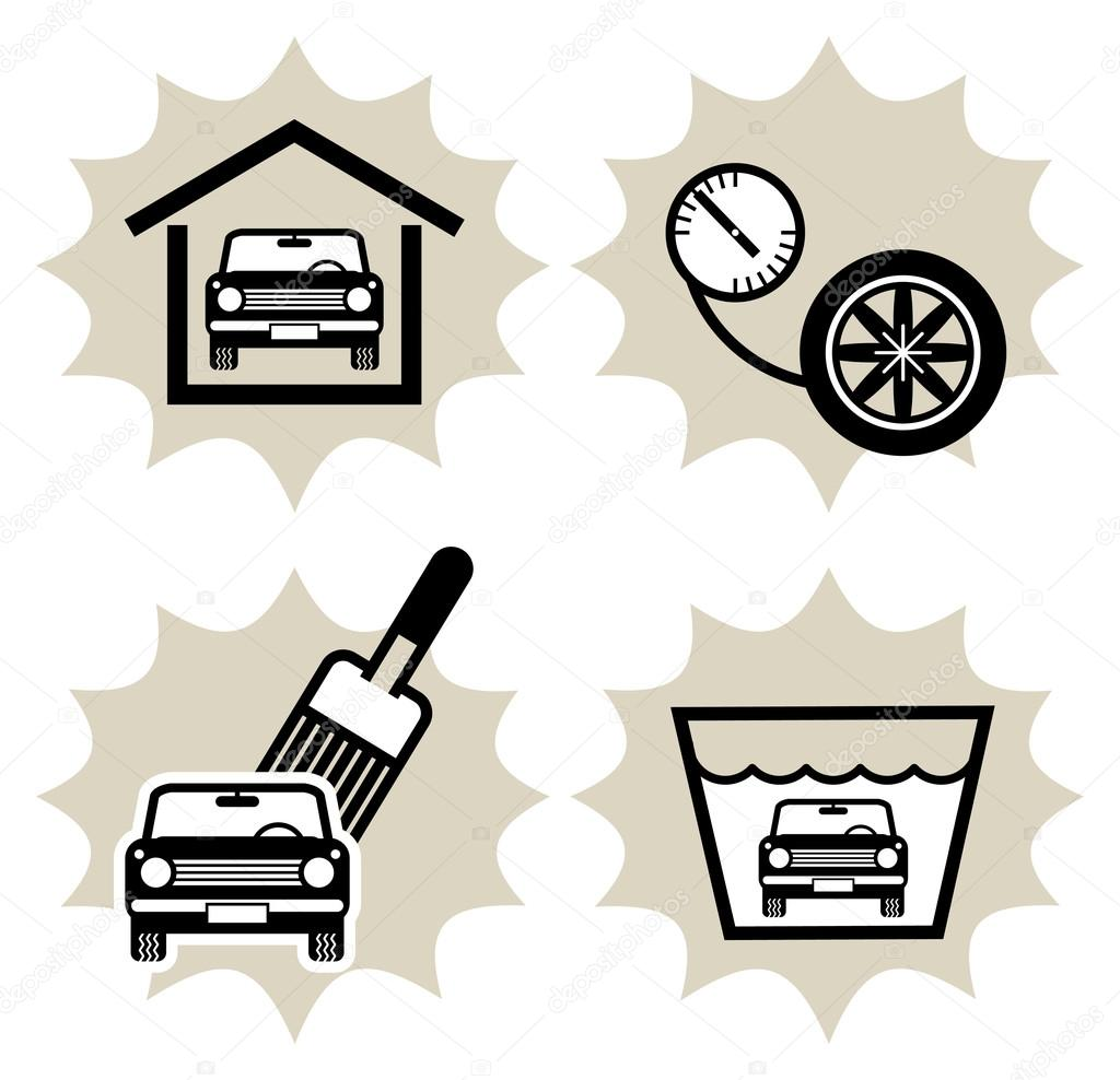 Lot of car service icon — Stock Vector #12560406