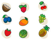 Lot of fruits — Stock Vector