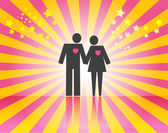Couple on pink ray background — Stock Vector