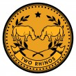 Rhinos coin — Stock Vector