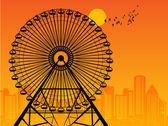 Ferris Wheel at sunset — Stock Vector