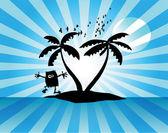 Tropikal palmiye adası — Stok Vektör