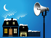 Megaphone and house — Stockvector