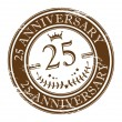 Stamp 25 anniversary - Stock Vector