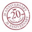 Stamp 20 anniversary — Stockvectorbeeld