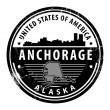Alaska, Anchorage-Stempel — Stockvektor