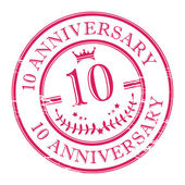 Stamp 10 anniversary — Stock Vector