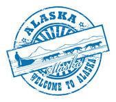 Dog Sled and name of Alaska stamp — Stock Vector