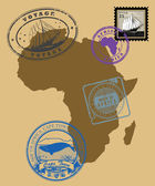 Stamps of theme Africa — Stock Vector
