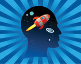 Rocket fly in the head — Vector de stock