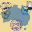 Stamps of theme Australia — Stock Vector