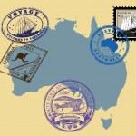 Stamps of theme Australia — Stock Vector