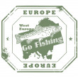 Europe, Go Fishing stamp — Stock Vector