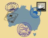 Sellos de tema australia — Vector de stock