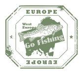 Europe, Go Fishing stamp — Stock Vector