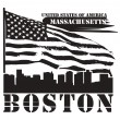 Massachusetts, Boston stamp - Stock vektor