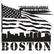 Massachusetts, Boston stamp - Stockvectorbeeld