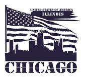 Illinois, chicago etiketi — Stok Vektör