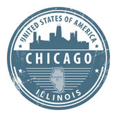 Illinois, Chicago stamp — Stok Vektör