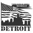 Stock Vector: Michigan, Detroit label