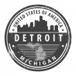Stock Vector: Michigan, Detroit stamp