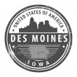 Iowa, Des Moines stamp - Stock Vector