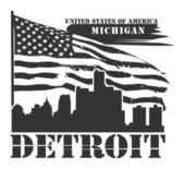 Michigan, Detroit label — Stock Vector