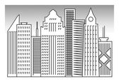 Set of buildings silhouette — Stock Vector