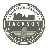 Mississippi, Jackson stamp — Stock Vector