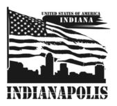 Indiana, Indianapolis label — Stock Vector