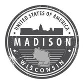 Wisconsin, Madison stamp — Stock Vector