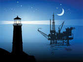 Sea Oil Rig Drilling Platform — Stock Vector