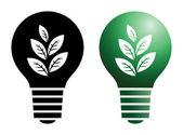 Yeşil ampul simgesi — Stok Vektör