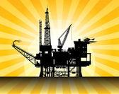 Sea Oil Rig — Stock Vector