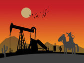 Oil rig silhouetten — Stockvektor
