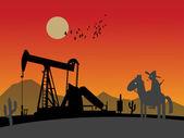 Silhuetas de plataforma de petróleo — Vetorial Stock