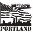 Oregon, Portland label - Stock Vector