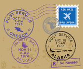 Symboles de timbre poste — Vecteur